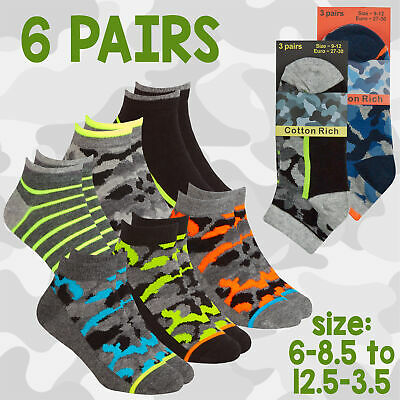 Kids Boys Ankle Liner Trainer Socks Camo Camouflage Print Soldier 3 Pairs Cotton