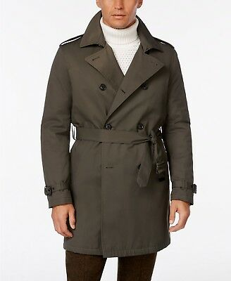 Tommy Hilfiger 44R Olive Solid Double Breasted Cotton NWT Mens Trench Coat GS103