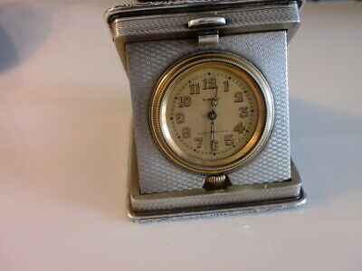 Minted Heavy Gauge Silver Travel Clock 8Day French Movement Working 1937