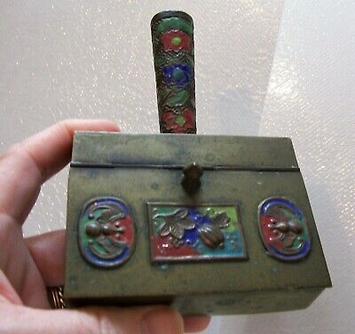 Chinese Silk Iron Brass with Red, Blue and Green Cloissone