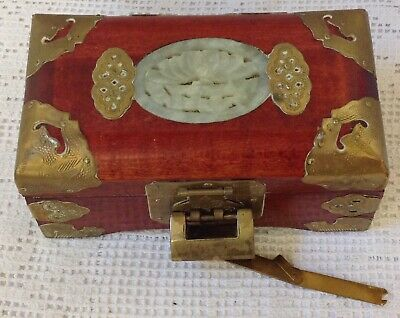 Vintage Chinese Wood Box With Chinese Lock, Nephrite Celadon Jade & Brass Detail