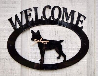 Rat Terrier Handcrafted Metal Welcome Sign black silhouette Made in the USA