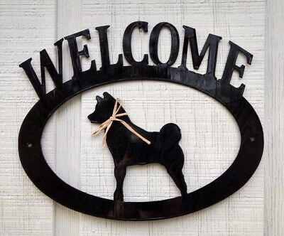 Shiba Inu Handcrafted Metal Welcome Sign black silhouette Made in the USA