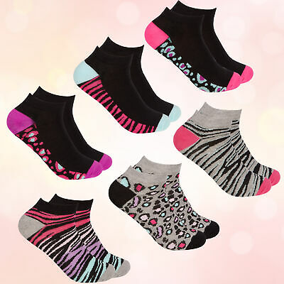 * Ladies Womens 3 Pairs Trainer Ankle Liners Socks Leopard Zebra Tiger Design UK