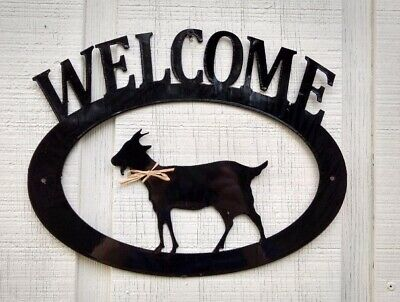 Goat Handcrafted Metal Welcome Sign black silhouette Made in the USA