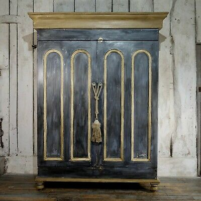 Antique Large Continental French Double Wardrobe Painted Armoire Cupboard Hall