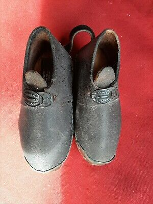 Rare & Fine Little Pair Of Childs Handmade Leather Clogs