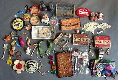 Collectible Antique Smalls Lot Dealer Showcase Collector Advertising Junk Drawer