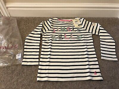 Joules Girls Harbour Cream Stripe Festive Christmas Long Sleeve Top  Age 6 -New