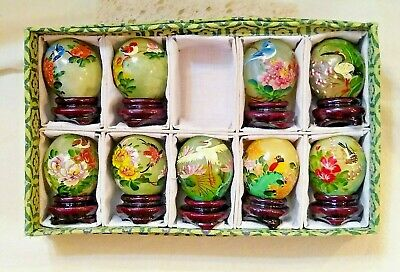 Vintage 9 Chinese Hand Painted Natural Jade Eggs W/Wood Stands