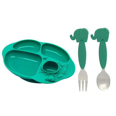 2PK Marcus & Marcus Toddler Fork/Spoon Set & Silicon Suction Plate Combo Ollie