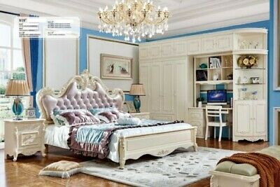 Luxury Bedroom Antique Classical Style Chesterfield Bed Wardrobe New Set 919