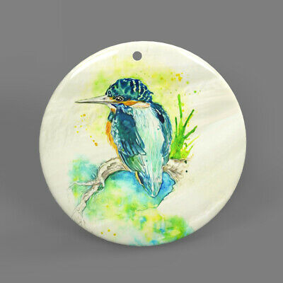 Color Printing Kingfisher White Shell Pendant Necklace J1705 0080