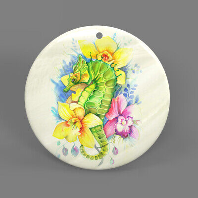 Color Printing Hippocampus White Shell Pendant Necklace J1705 0076