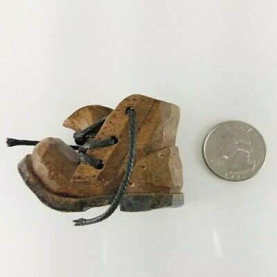 """Wooden Hand Carved Miniature Boot w/Lace-Signed 88 DG 2 1/8"""" long 1 1/2"""" tall"""