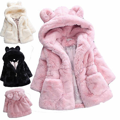 Kids Girls Faux Fur Fleece Bunny Ears Coat Winter Warm Hooded Jacket Outwear Top