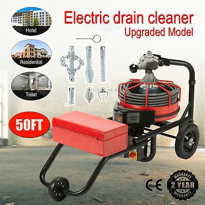 50FT*1/2'' Drain Auger Pipe Cleaner Cleaning Machine Plumber Flexible Snake Pipe