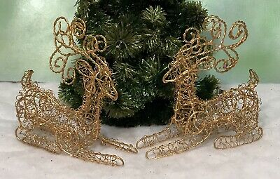 """Lot of 2 Goldtone Twisted Metal Wire Sparkly Decorative Christmas Deer 5.5""""x5.5"""""""