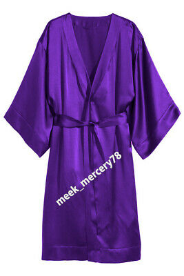 One Peace Gown Satin Fabric Sheer Purple* Night Dress Wear Women Night Wear S79