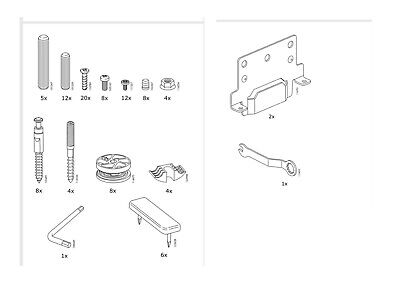 IKEA MALM COMPLETE SET OF SCREWS AND FIXINGS High Bed Frame Genuine