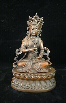 """Old Chinese Hand Carving Tibetan """"GuanYin"""" Buddha Boxwood Statue and Wooden Base"""