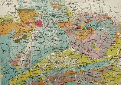 1897 Antique geological map of GERMANY. Geology. 123 years old chart
