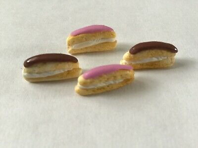 Dolls House Food. Cakes. Fresh Cream Eclairs. Handmade. 12th Scale. Set of Four.