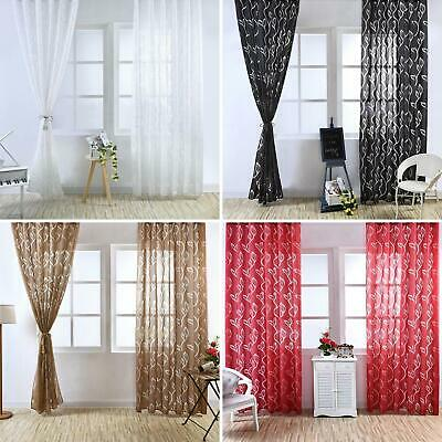2 panels Door Window Curtain Bubble Leaf Tulle Voile Drape 100x270cm PAIR