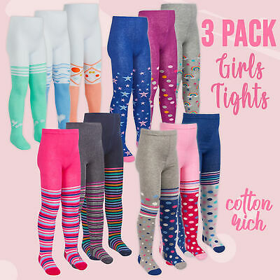 3 Pairs Girls Tights Novelty Spotty Multi Colours Patterned Cotton Rich Knitted