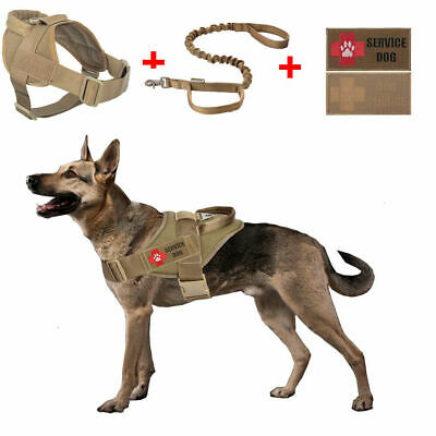 Service Tactical Dog Vest Military Police K9 Working Harness+Leash+Patch Set