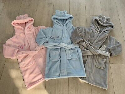 Personalised Baby Hooded Dressing Gown Robe Swimming Toodler Fleece 0-18 Months