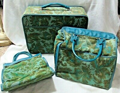 3 Pc Vintage 60s Avon Blue Green Tapestry Bags Luggage Overnight Totes