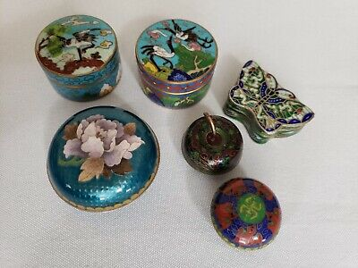 Antique Chinese Enamel Cloisonne Box Lot Snuff Box Pill Box Opium Box (LOT OF 6)
