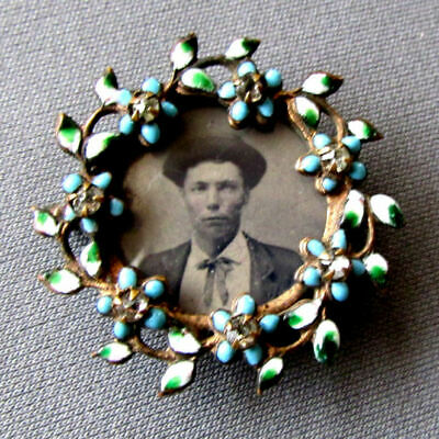 ANTIQUE 19th Century ENAMELED PORTRAIT PIN with TINTYPE PHOTOGRAPH