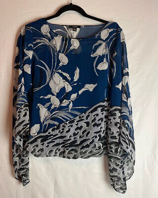 Alfani Women's Blouse Floral Blue Batwing Sleeves  Size Small