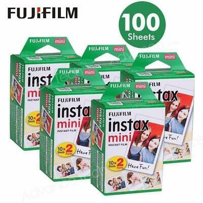 100 PCS Fujifilm Instax Mini Instant White Film for Fuji 9 8 25 50 7s Neo 90 SP1