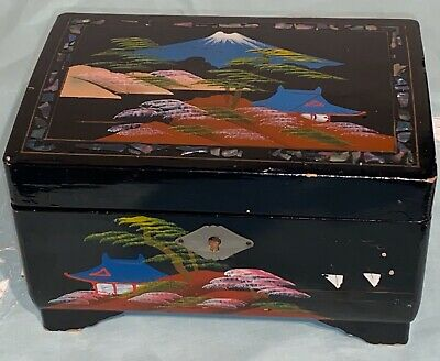 Vintage Black Lacquered Japanese Wood Jewelry Music Box Works Mirror Abalone