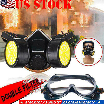 Dual &2 Protection Emergency Survival Safety Respiratory Gas Face shield Goggles
