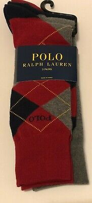 New 3 Pairs of Polo Ralph Lauren Argyle Red Solid Dress Socks - Sock Size 10-13