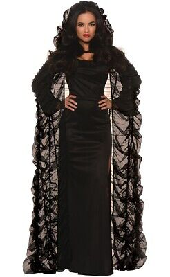 Ruched Long Black Women's Halloween Hooded Coffin Cape - New - Genuine Underw...