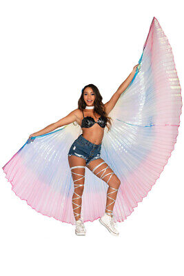 Pleated Rainbow Festival Wings Costume Accessory - Leg Avenue NEW