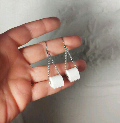 USA Toilet Paper Roll Dangle Earrings -  Polymer Clay Wire Chain