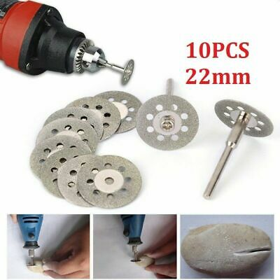 10x Mini Diamond Cutting Discs Wheel Blades+Drill Bit Set For Dremel Rotary Tool