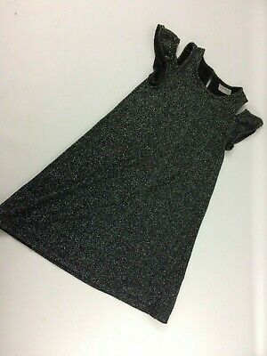 Girls NEXT Black Sparkly Dress Age 6 Keyhole Shoulder
