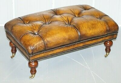 Stunning Fully Restored Hand Dyed Whiskey Brown Leather Chesterfield Footstool