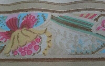 VTG 1920's WALLPAPER BORDER Arts Crafts ANTIQUE 12 Feet Very FRAGILE Early 1900s