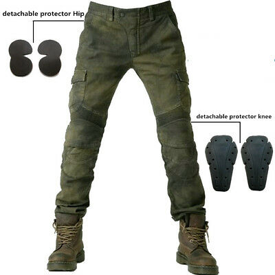 Motorcycle Jeans Denim Biker Army Green Moto Combat Pants Protective pad Trouser