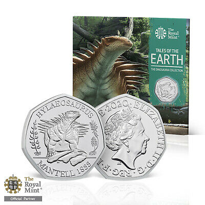 Dinosaur 50p Coin Hylaeosaurus Official Royal Mint BU 2020 with Collector Pack