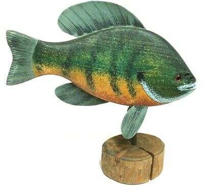 "Vintage Roy Smith ""Bluegill"" Hand Carved / Painted Fish Wooden Deco - SIGNED"