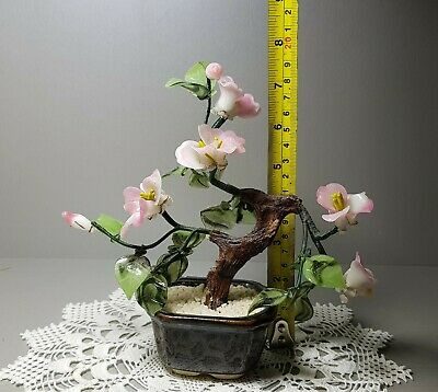 Vintage Jade Glass Bonsai Blossom Tree Brown Ceramic Pot Leonardo Asian Style